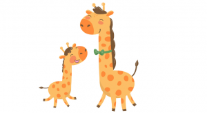 The giraffe and her calf