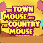 Two mice standing, one is country mouse and other is town mouse