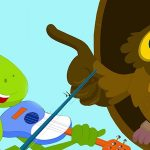 Brown animated owl and green animated frog