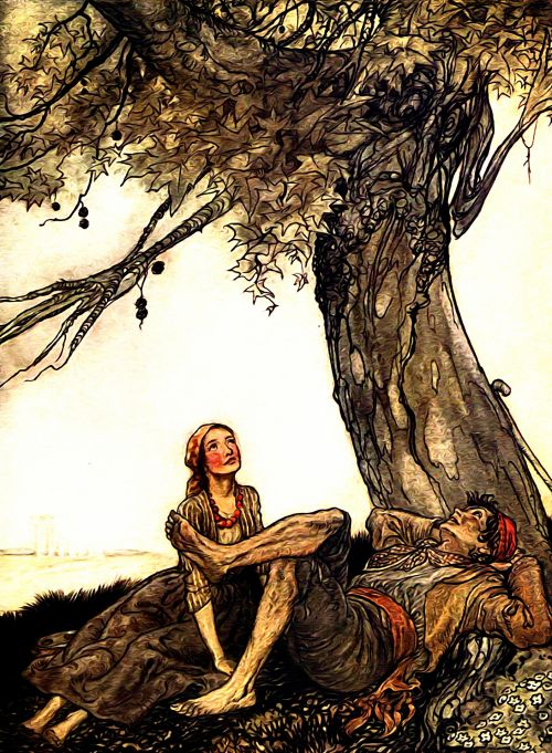Two travellers resting near plane tree